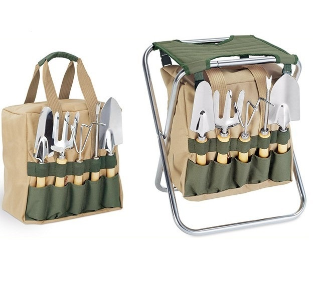 Picnic Time Gardener Folding Chair with Tools
